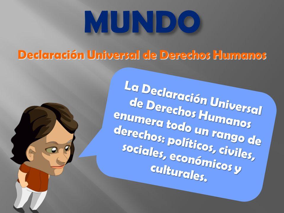 La Declaración Universal de Derechos Humanos enumera todo un rango de derechos: políticos, civiles, sociales, económicos y culturales.