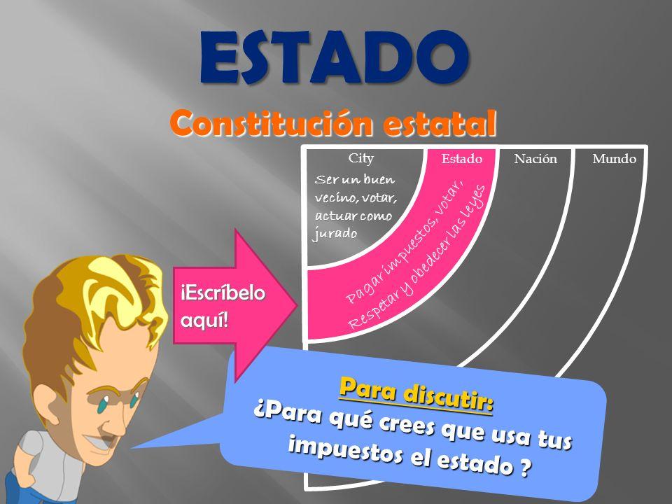 Constitución estatal EstadoNación Mundo City Para discutir: ¿Para qué crees que usa tus impuestos el estado .