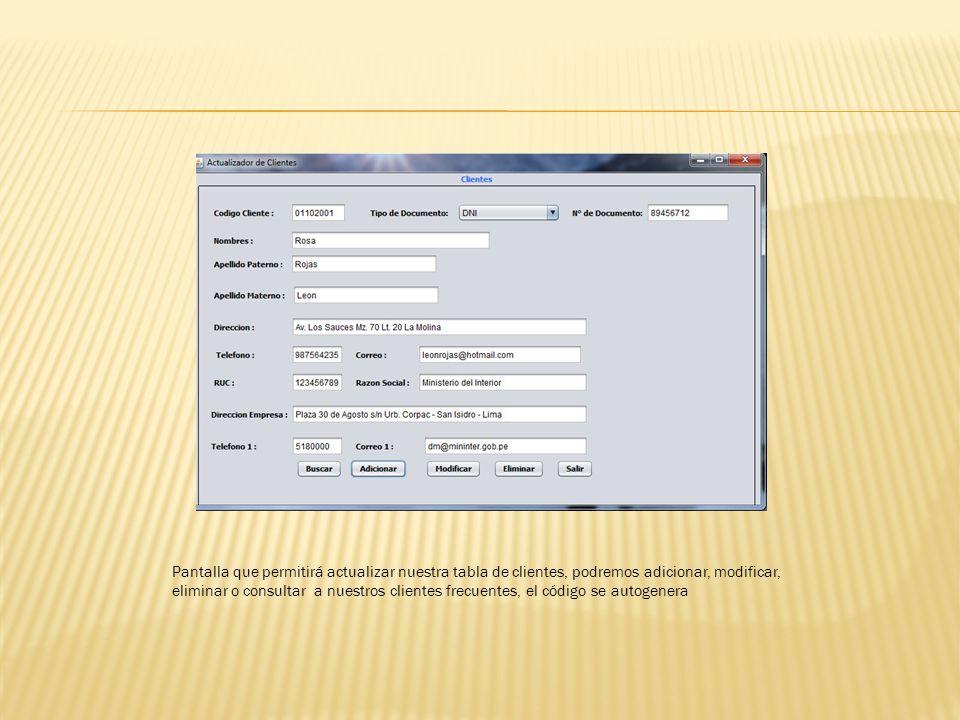 Pantalla que permitirá actualizar nuestra tabla de clientes, podremos adicionar, modificar, eliminar o consultar a nuestros clientes frecuentes, el có
