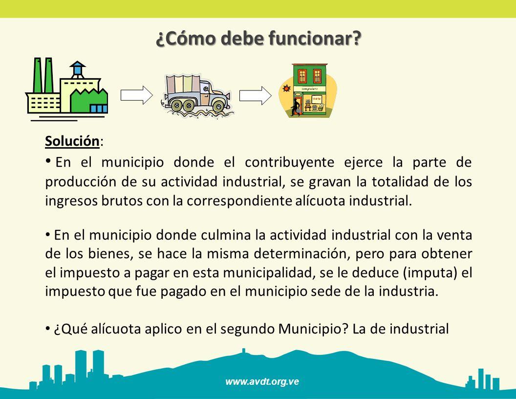 www.avdt.org.ve ¿Cómo debe funcionar? Solución: En el municipio donde el contribuyente ejerce la parte de producción de su actividad industrial, se gr