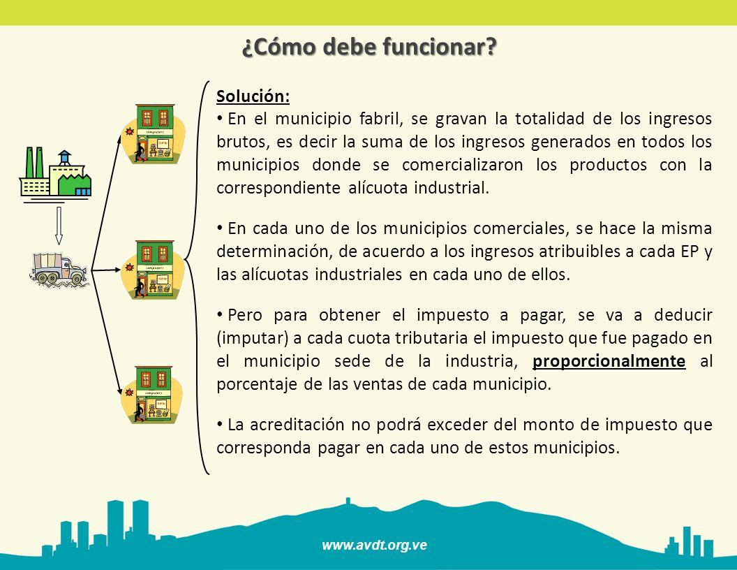 www.avdt.org.ve ¿Cómo debe funcionar? Solución: En el municipio fabril, se gravan la totalidad de los ingresos brutos, es decir la suma de los ingreso