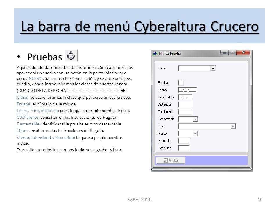 La barra de menú Cyberaltura Crucero Inscripciones Aquí es donde introduciremos a los inscritos, Si lo abrimos, nos aparecerá un cuadro con un botón e