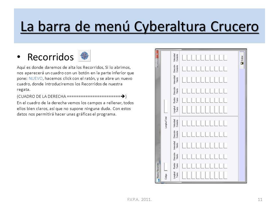 La barra de menú Cyberaltura Crucero Pruebas Aquí es donde daremos de alta las pruebas, Si lo abrimos, nos aparecerá un cuadro con un botón en la part