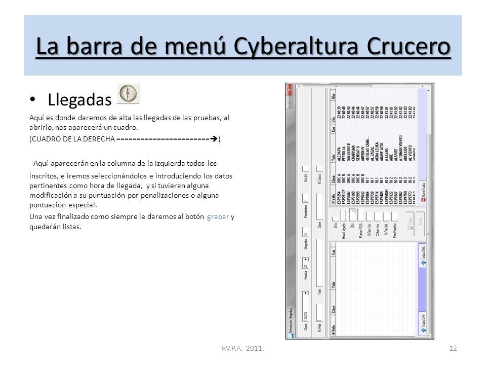 La barra de menú Cyberaltura Crucero Recorridos Aquí es donde daremos de alta los Recorridos, Si lo abrimos, nos aparecerá un cuadro con un botón en l