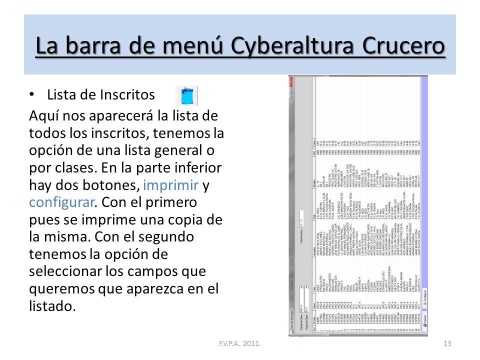 La barra de menú Cyberaltura Crucero Llegadas Aquí es donde daremos de alta las llegadas de las pruebas, al abrirlo, nos aparecerá un cuadro. (CUADRO