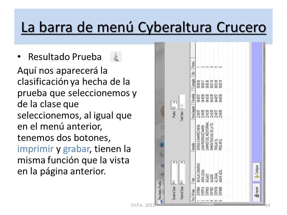 La barra de menú Cyberaltura Crucero Lista de Inscritos Aquí nos aparecerá la lista de todos los inscritos, tenemos la opción de una lista general o p