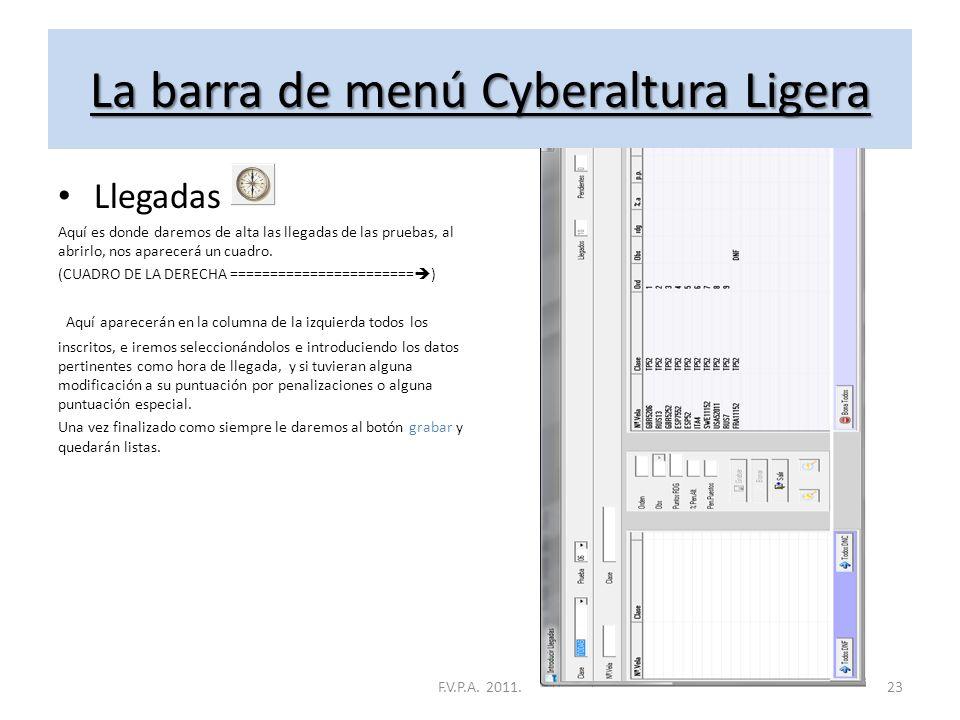 La barra de menú Cyberaltura Ligera Pruebas Aquí es donde daremos de alta las pruebas, Si lo abrimos, nos aparecerá un cuadro con un botón en la parte