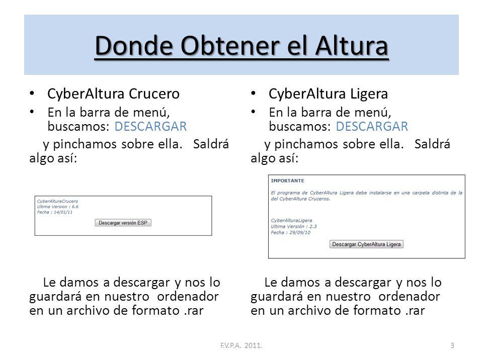 Donde Obtener el Altura En la página web del creador: http://www.cyberaltura.com Una vez allí veremos un menú: CyberAltura R.F.E.V y CiberAltura Liger