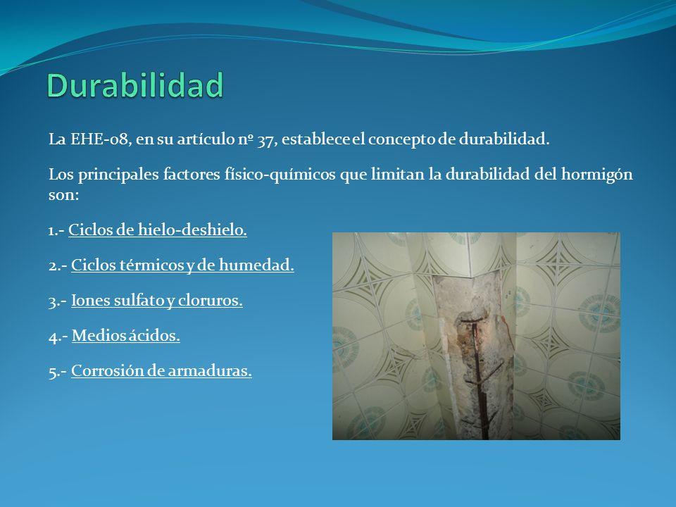 La EHE-08, en su artículo nº 37, establece el concepto de durabilidad. Los principales factores físico-químicos que limitan la durabilidad del hormigó