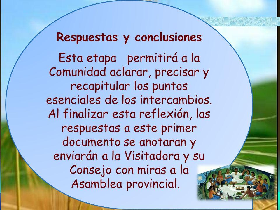 Respuestas y conclusiones Esta etapa permitirá a la Comunidad aclarar, precisar y recapitular los puntos esenciales de los intercambios. Al finalizar
