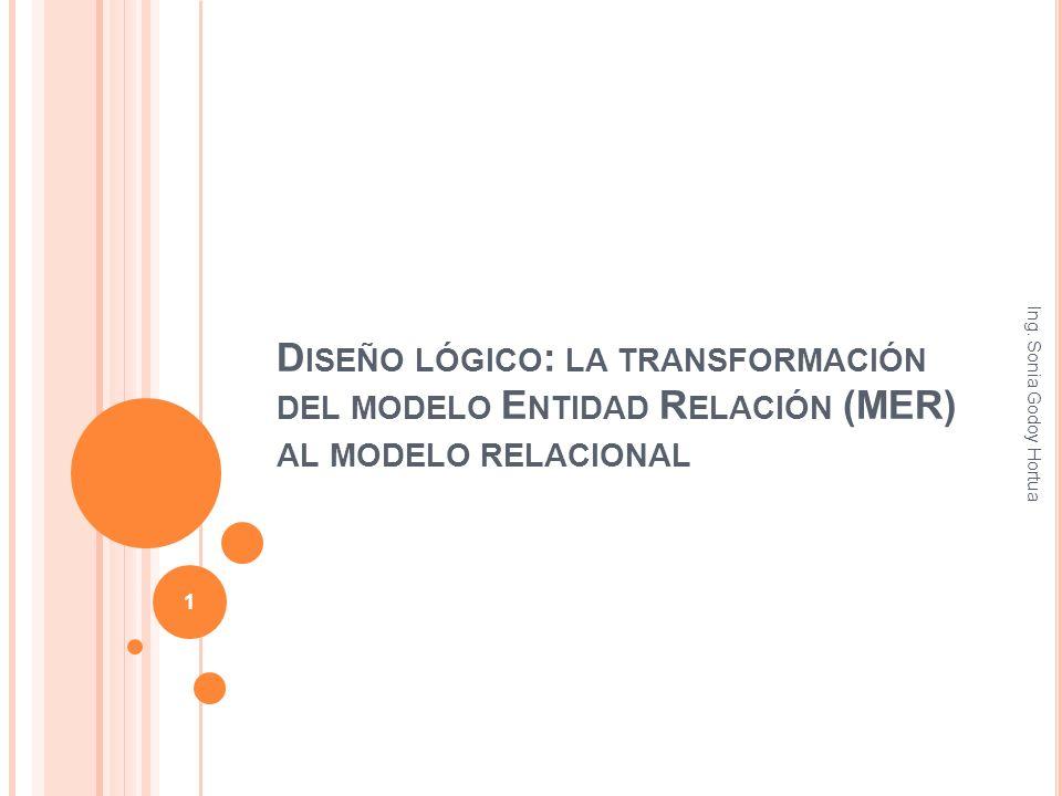D ISEÑO LÓGICO : LA TRANSFORMACIÓN DEL MODELO E NTIDAD R ELACIÓN (MER) AL MODELO RELACIONAL Ing. Sonia Godoy Hortua 1