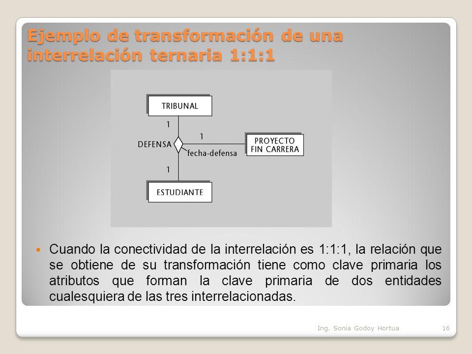 Ejemplo de transformación de una interrelación ternaria 1:1:1 Cuando la conectividad de la interrelación es 1:1:1, la relación que se obtiene de su tr