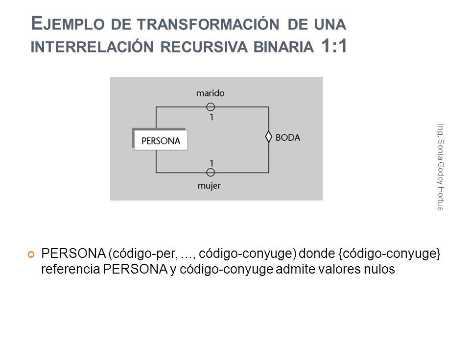 E JEMPLO DE TRANSFORMACIÓN DE UNA INTERRELACIÓN RECURSIVA BINARIA 1:1 PERSONA (código-per,..., código-conyuge) donde {código-conyuge} referencia PERSO