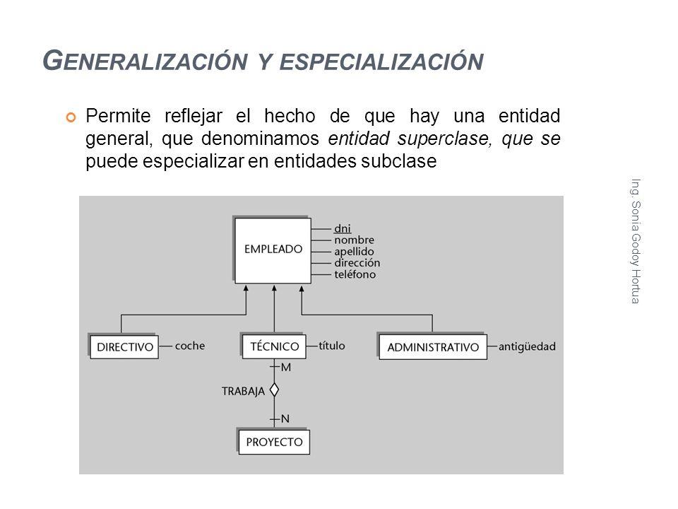 G ENERALIZACIÓN Y ESPECIALIZACIÓN Permite reflejar el hecho de que hay una entidad general, que denominamos entidad superclase, que se puede especiali