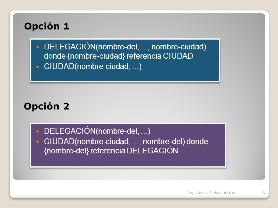Ejemplo de transformación de una interrelación ternaria 1:1:1 Cuando la conectividad de la interrelación es 1:1:1, la relación que se obtiene de su transformación tiene como clave primaria los atributos que forman la clave primaria de dos entidades cualesquiera de las tres interrelacionadas.