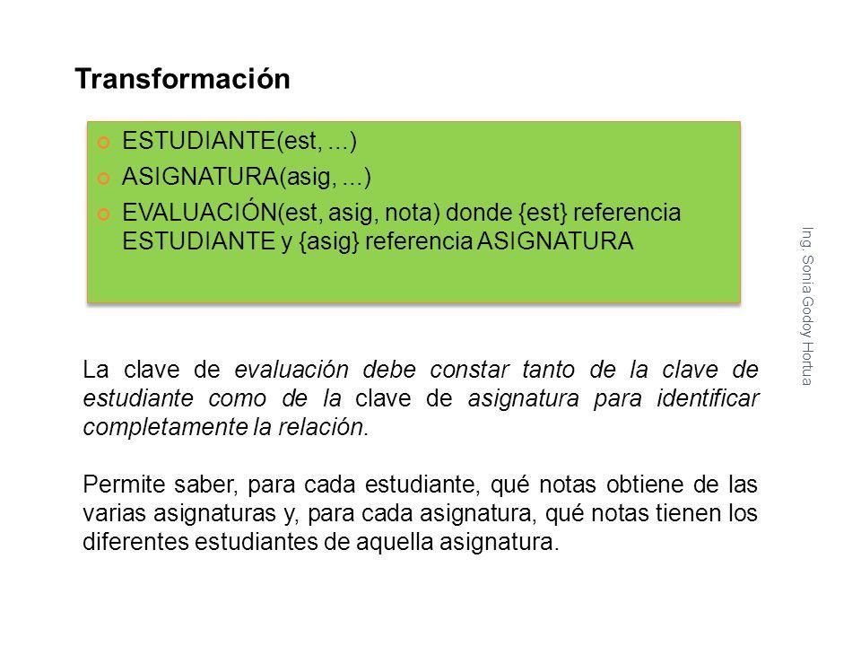 Transformación Ing. Sonia Godoy Hortua 9 La clave de evaluación debe constar tanto de la clave de estudiante como de la clave de asignatura para ident