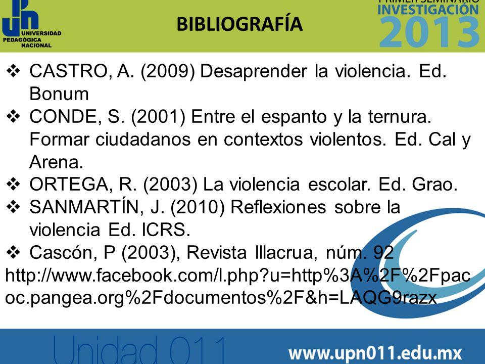 BIBLIOGRAFÍA CASTRO, A. (2009) Desaprender la violencia. Ed. Bonum CONDE, S. (2001) Entre el espanto y la ternura. Formar ciudadanos en contextos viol
