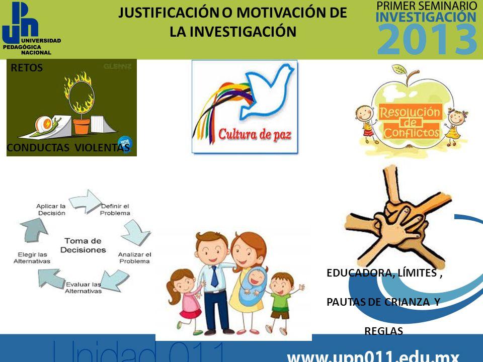 JUSTIFICACIÓN O MOTIVACIÓN DE LA INVESTIGACIÓN EDUCADORA, LÍMITES, PAUTAS DE CRIANZA Y REGLAS RETOS CONDUCTAS VIOLENTAS