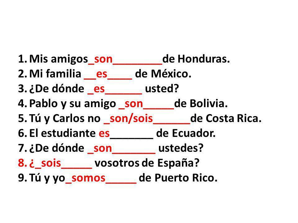 1.Mis amigos_son________de Honduras. 2.Mi familia __es____ de México.