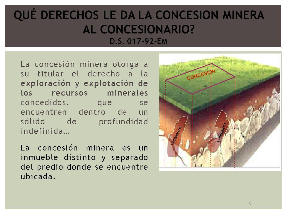 6 La concesión minera otorga a su titular el derecho a la exploración y explotación de los recursos minerales concedidos, que se encuentren dentro de un sólido de profundidad indefinida… La concesión minera es un inmueble distinto y separado del predio donde se encuentre ubicada.