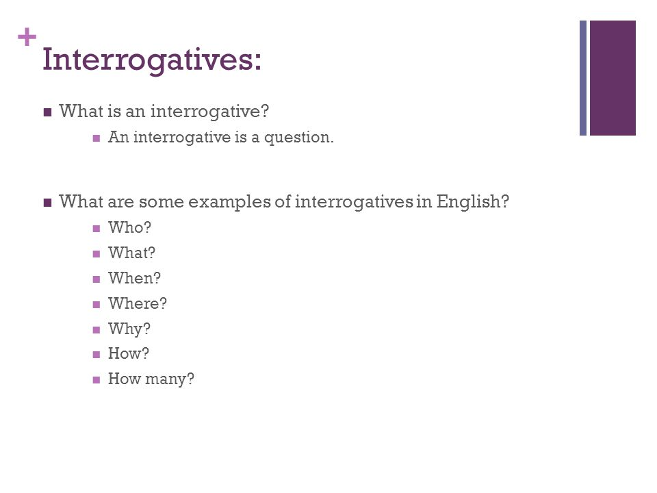 + Interrogatives: What is an interrogative? An interrogative is a question. What are some examples of interrogatives in English? Who? What? When? Wher
