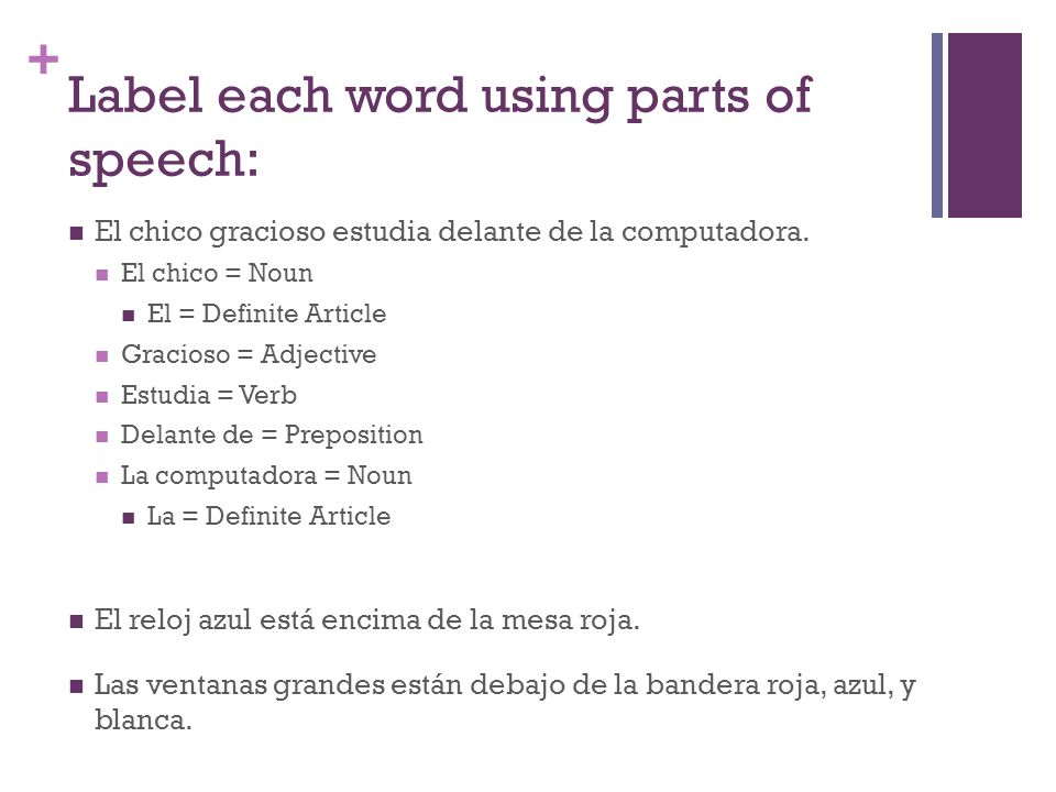 + Label each word using parts of speech: El chico gracioso estudia delante de la computadora. El chico = Noun El = Definite Article Gracioso = Adjecti