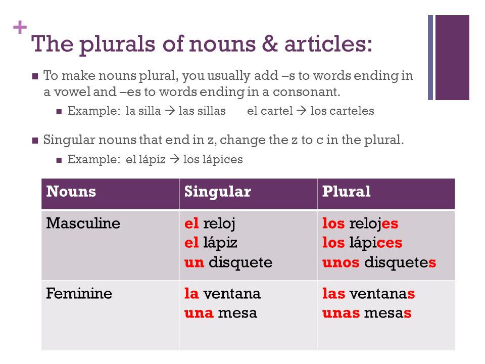 + The plurals of nouns & articles: To make nouns plural, you usually add –s to words ending in a vowel and –es to words ending in a consonant. Example