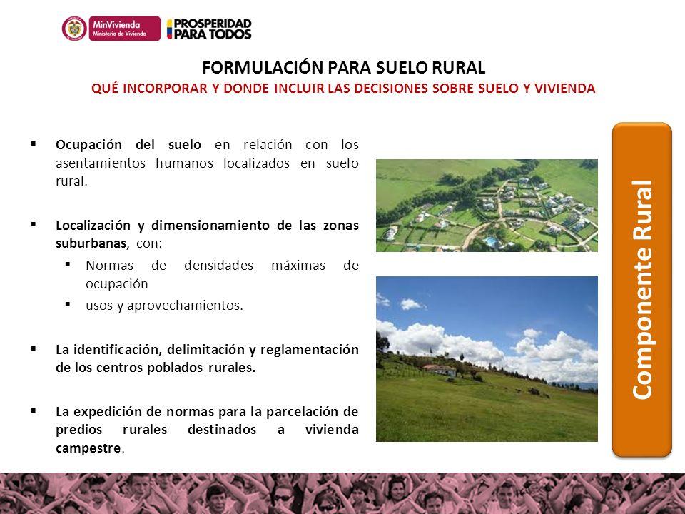 Ocupación del suelo en relación con los asentamientos humanos localizados en suelo rural. Localización y dimensionamiento de las zonas suburbanas, con