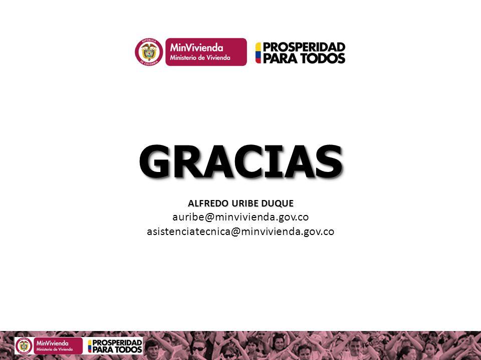 ALFREDO URIBE DUQUE auribe@minvivienda.gov.co asistenciatecnica@minvivienda.gov.co GRACIASGRACIAS