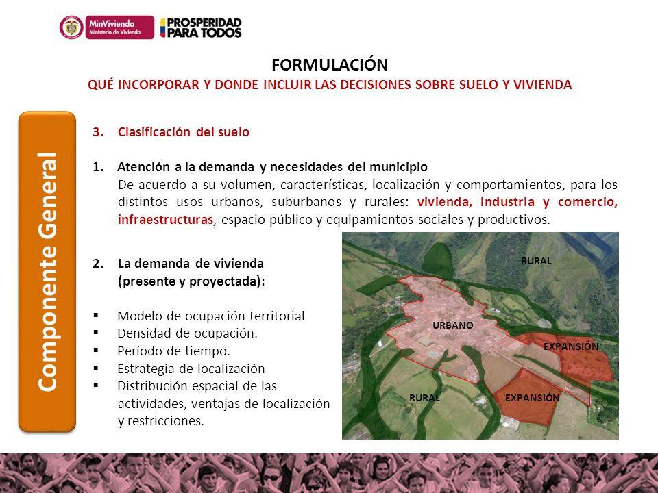 URBANO EXPANSIÓN 3.Clasificación del suelo 1.Atención a la demanda y necesidades del municipio De acuerdo a su volumen, características, localización