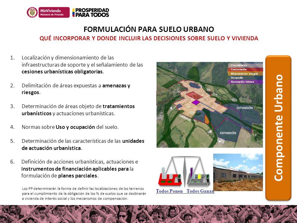 1.Localización y dimensionamiento de las infraestructuras de soporte y el señalamiento de las cesiones urbanísticas obligatorias. 2.Delimitación de ár