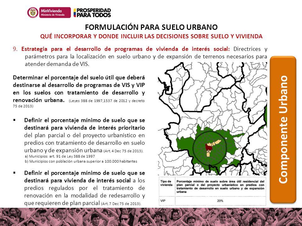 9. Estrategia para el desarrollo de programas de vivienda de interés social: Directrices y parámetros para la localización en suelo urbano y de expans