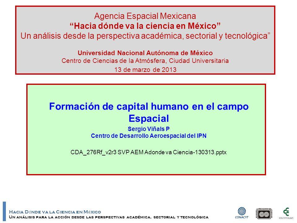 Hacia D ó nde va la Ciencia en M é xico Un análisis para la acción desde las perspectivas académica, sectorial y tecnológica Datos de contacto –Sergio Viñals Padilla svinals@prodigy.net.mx (52-55) 5729-6000 Ext 64 665; 64-661 www.cda.ipn.mx Centro de Desarrollo Aeroespacial del IPN CEC Unidad Allende del IPN; Patio de la Higuera; Belisario Domínguez 22; Col.