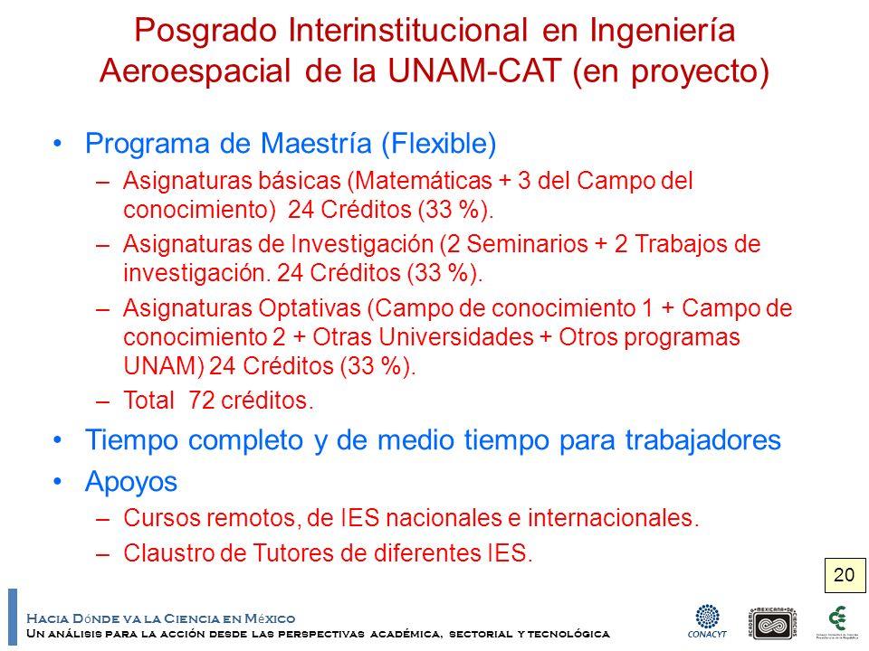 Hacia D ó nde va la Ciencia en M é xico Un análisis para la acción desde las perspectivas académica, sectorial y tecnológica Posgrado Interinstitucional en Ingeniería Aeroespacial de la UNAM-CAT (en proyecto) Programa de Maestría (Flexible) –Asignaturas básicas (Matemáticas + 3 del Campo del conocimiento) 24 Créditos (33 %).