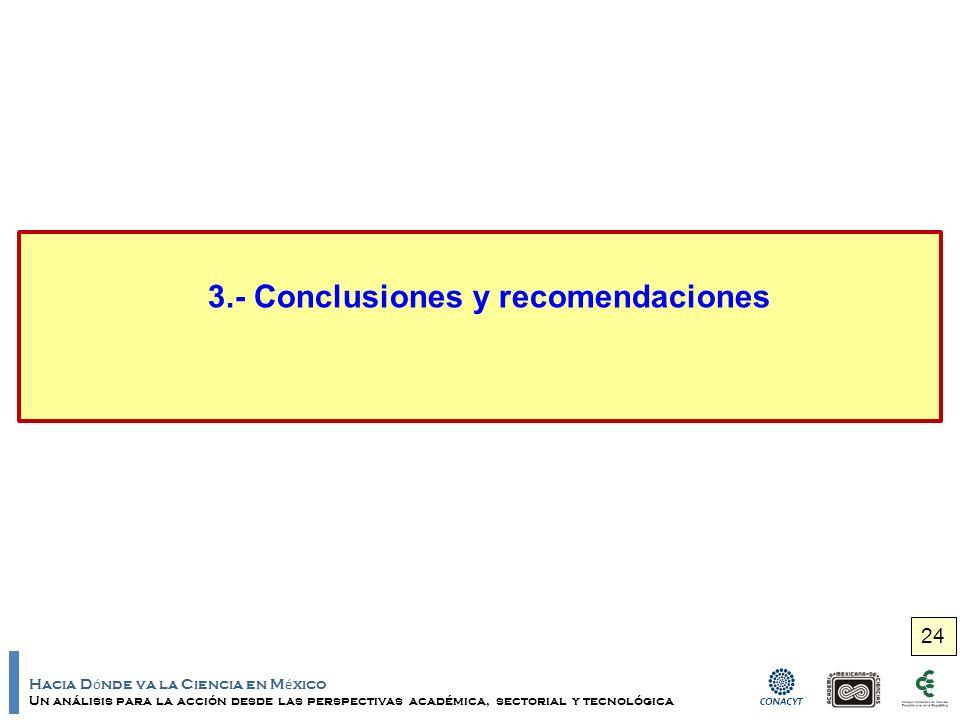 Hacia D ó nde va la Ciencia en M é xico Un análisis para la acción desde las perspectivas académica, sectorial y tecnológica 3.- Conclusiones y recomendaciones 24