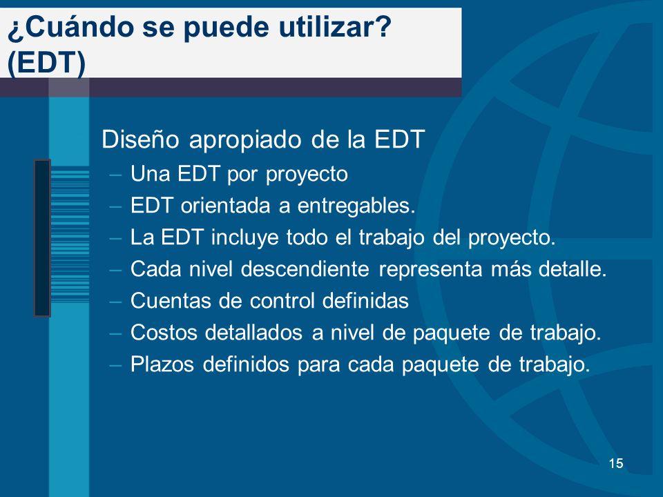 ¿Cuándo se puede utilizar? (EDT) Diseño apropiado de la EDT –Una EDT por proyecto –EDT orientada a entregables. –La EDT incluye todo el trabajo del pr