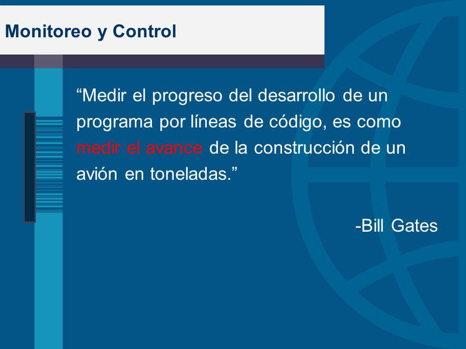 Monitoreo y Control Medir el progreso del desarrollo de un programa por líneas de código, es como medir el avance de la construcción de un avión en to
