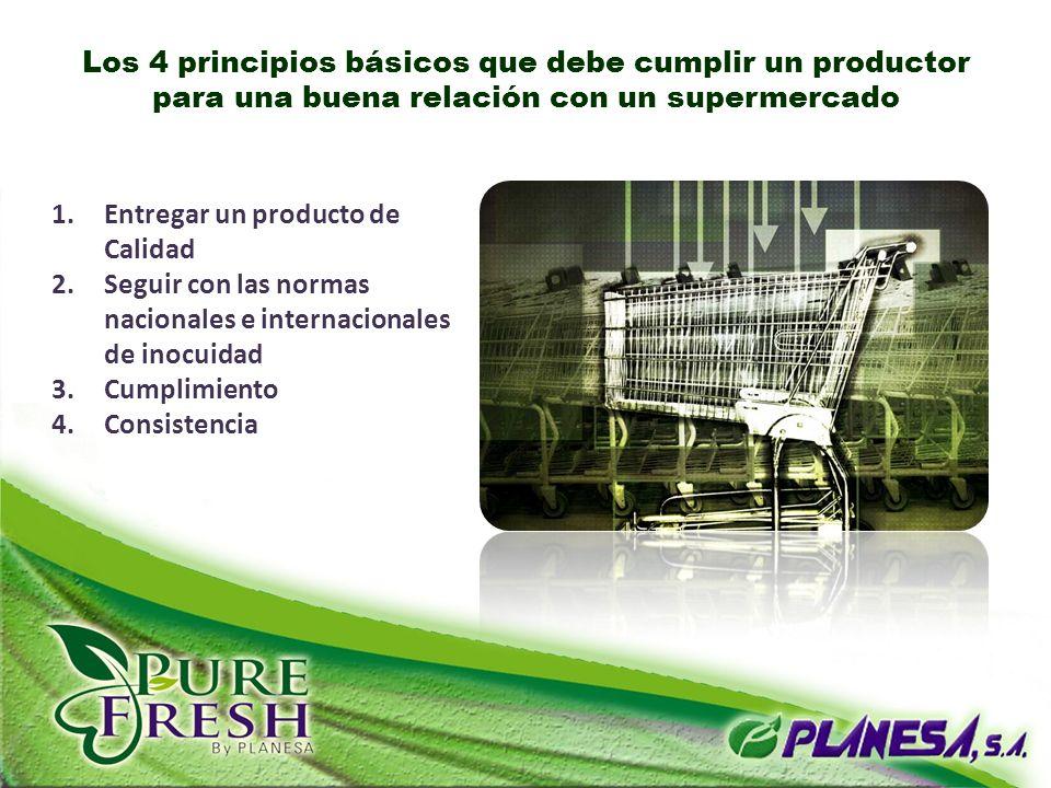 1.Entregar un producto de Calidad 2.Seguir con las normas nacionales e internacionales de inocuidad 3.Cumplimiento 4.Consistencia Los 4 principios bás