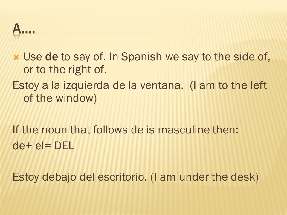 Use de to say of. In Spanish we say to the side of, or to the right of.