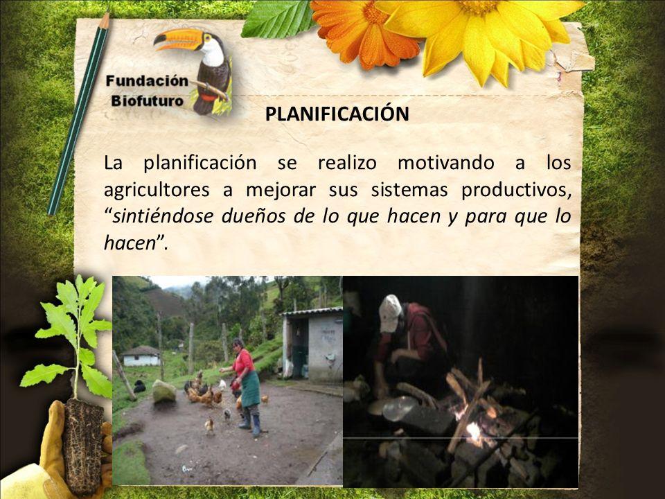 PLANIFICACIÓN La planificación se realizo motivando a los agricultores a mejorar sus sistemas productivos,sintiéndose dueños de lo que hacen y para qu