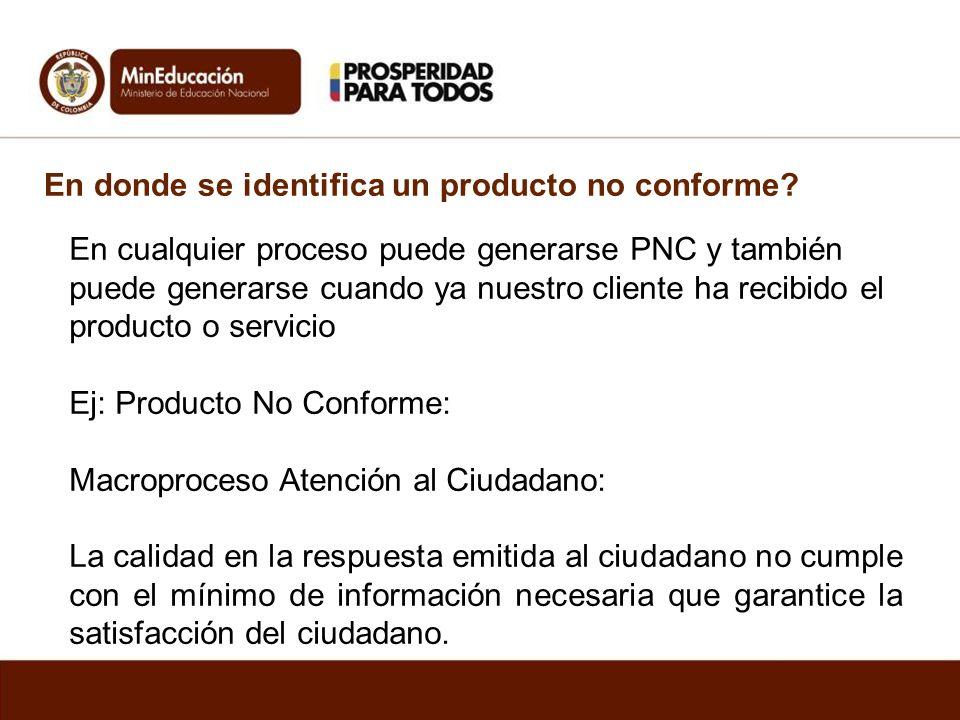 En donde se identifica un producto no conforme? En cualquier proceso puede generarse PNC y también puede generarse cuando ya nuestro cliente ha recibi