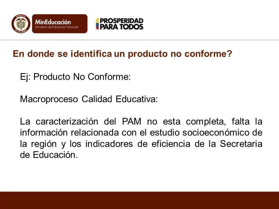 En donde se identifica un producto no conforme? Ej: Producto No Conforme: Macroproceso Calidad Educativa: La caracterización del PAM no esta completa,