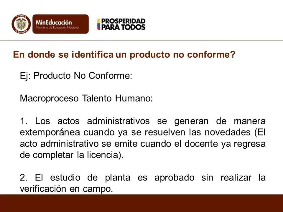 En donde se identifica un producto no conforme? Ej: Producto No Conforme: Macroproceso Talento Humano: 1. Los actos administrativos se generan de mane