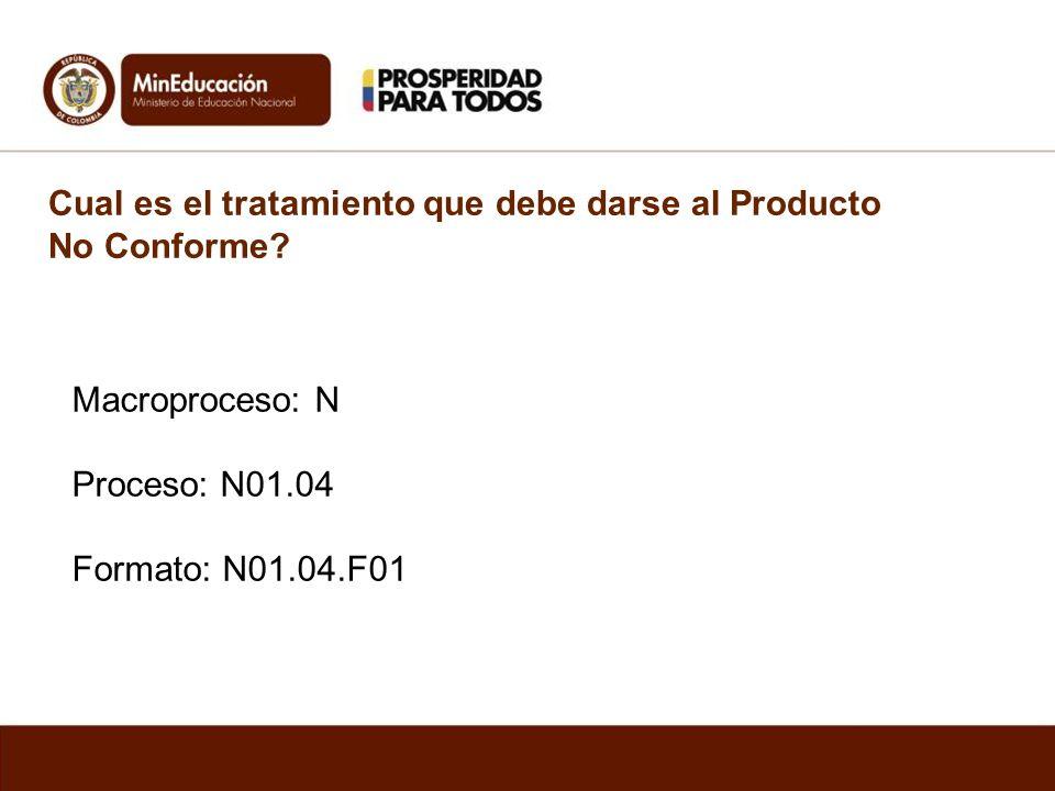 Cual es el tratamiento que debe darse al Producto No Conforme? Macroproceso: N Proceso: N01.04 Formato: N01.04.F01