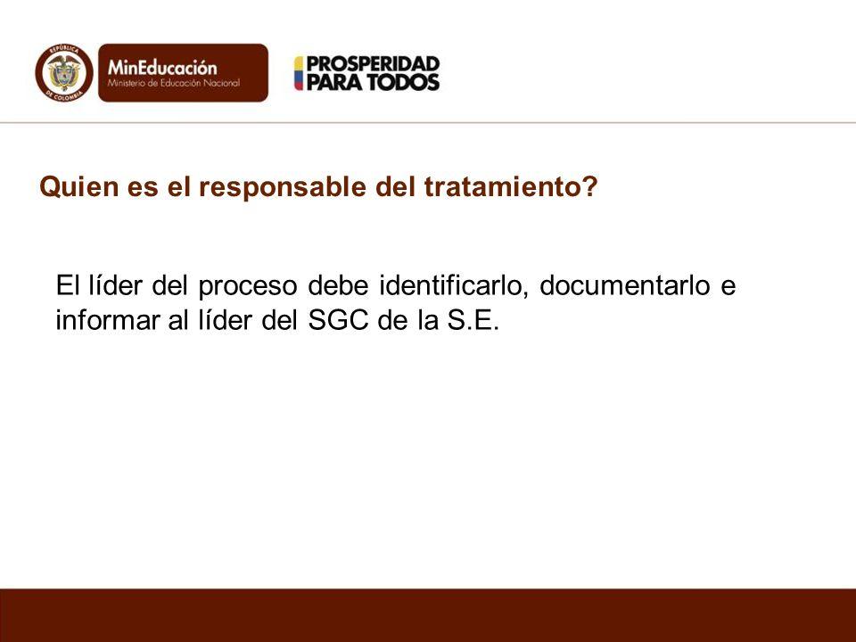 Quien es el responsable del tratamiento? El líder del proceso debe identificarlo, documentarlo e informar al líder del SGC de la S.E.