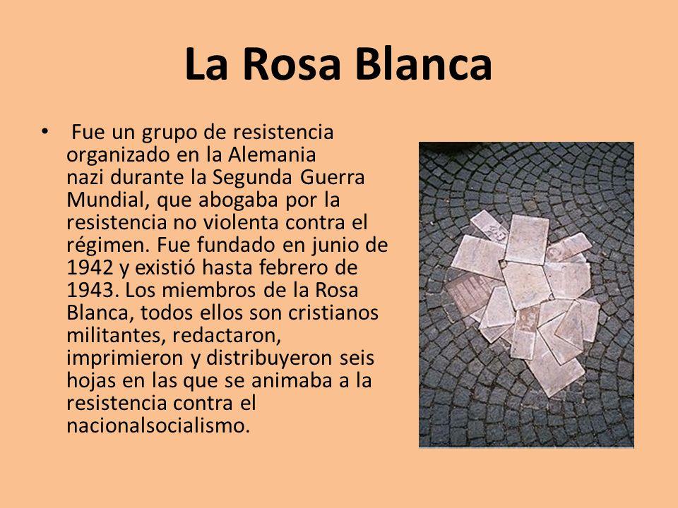 La Rosa Blanca Fue un grupo de resistencia organizado en la Alemania nazi durante la Segunda Guerra Mundial, que abogaba por la resistencia no violent