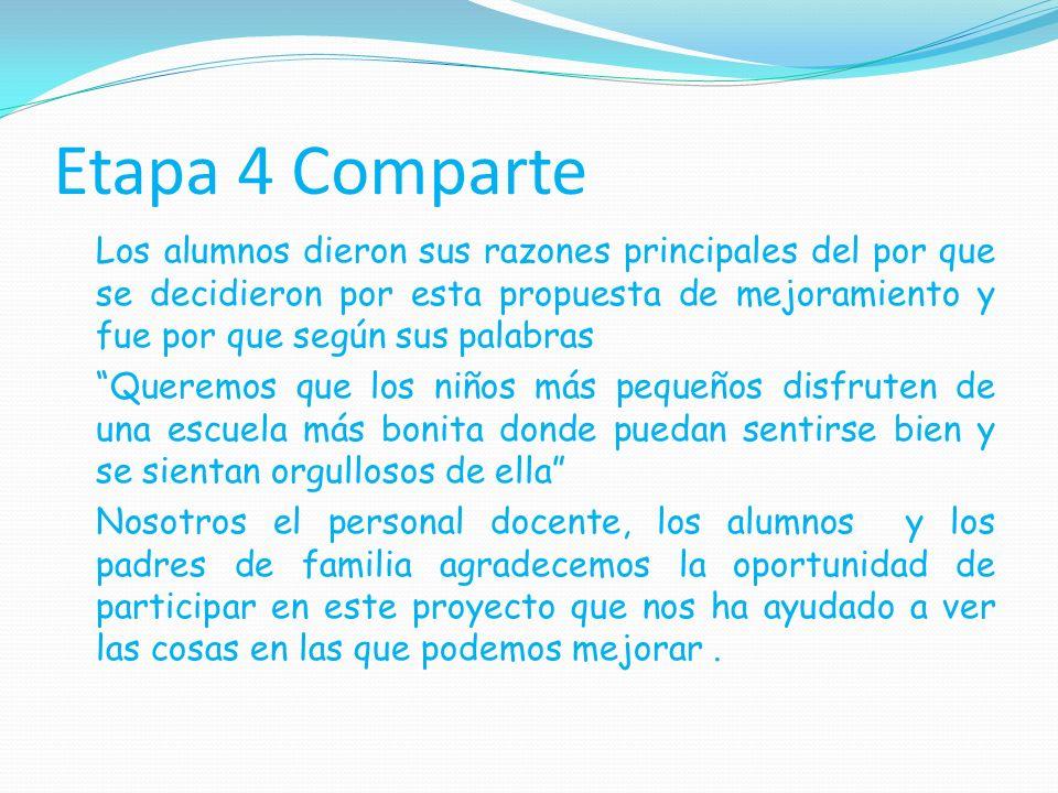 Etapa 4 Comparte Los alumnos dieron sus razones principales del por que se decidieron por esta propuesta de mejoramiento y fue por que según sus palab