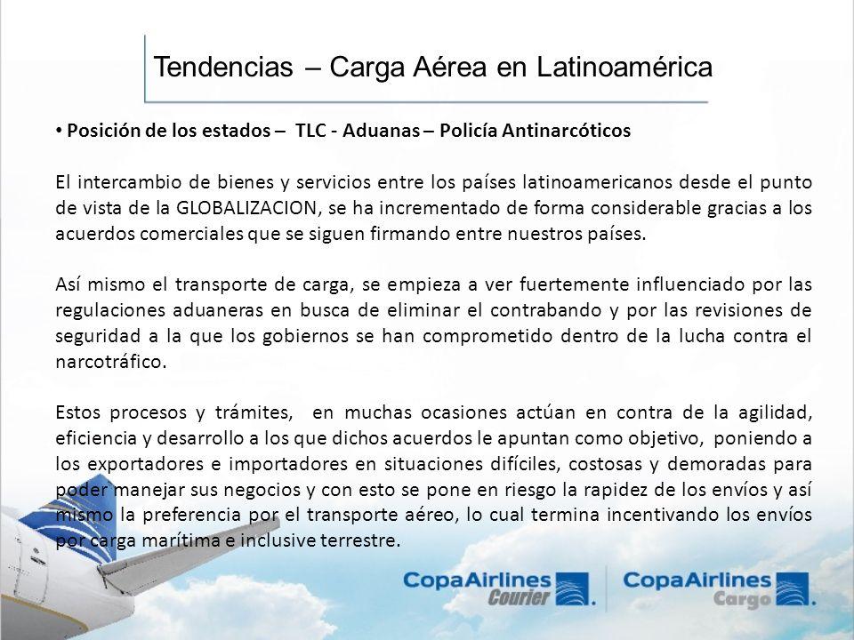 Tendencias – Carga Aérea en Latinoamérica Posición de los estados – TLC - Aduanas – Policía Antinarcóticos El intercambio de bienes y servicios entre