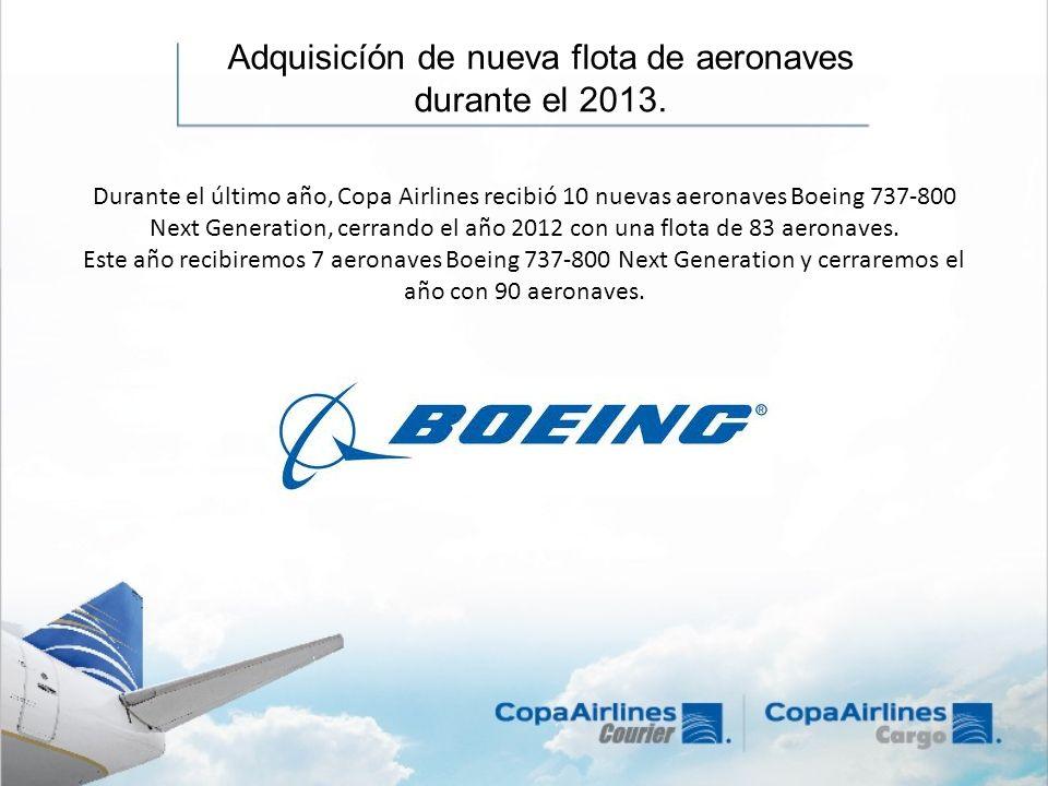 Durante el último año, Copa Airlines recibió 10 nuevas aeronaves Boeing 737-800 Next Generation, cerrando el año 2012 con una flota de 83 aeronaves. E