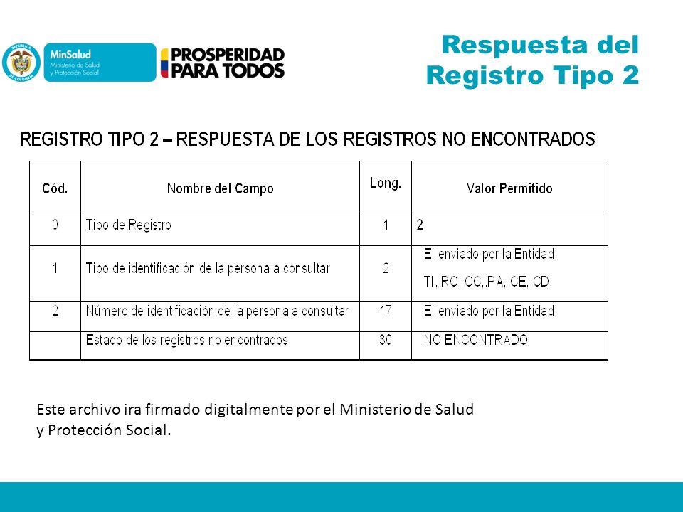 Respuesta del Registro Tipo 2 Este archivo ira firmado digitalmente por el Ministerio de Salud y Protección Social.